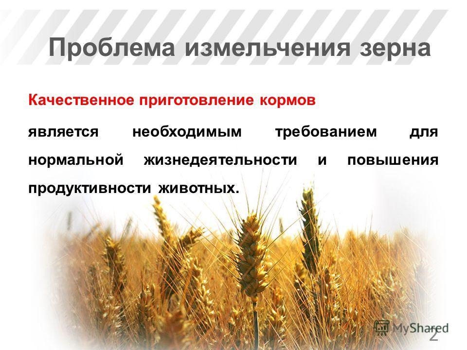 Проблема измельчения зерна Качественное приготовление кормов является необходимым требованием для нормальной жизнедеятельности и повышения продуктивности животных. 2