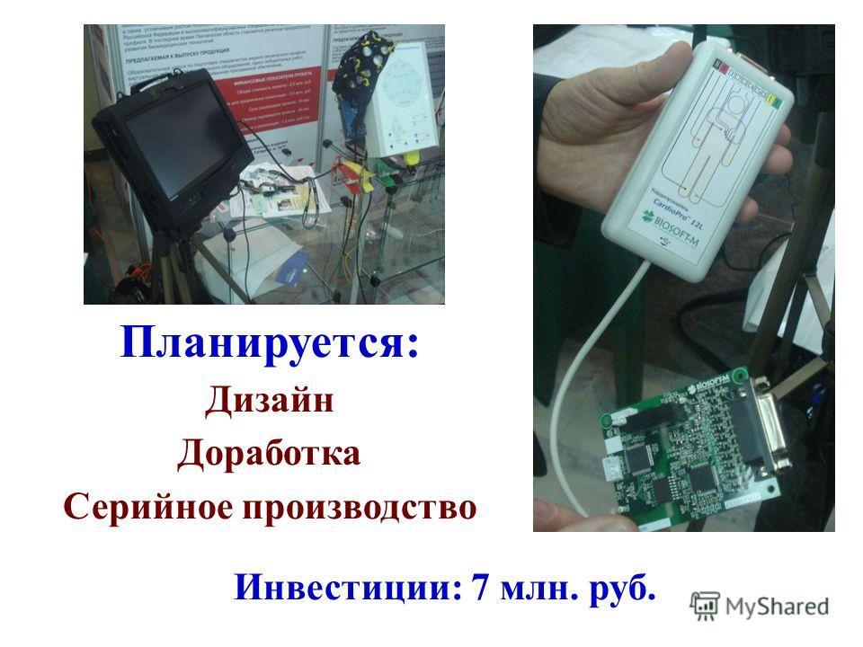 Планируется: Дизайн Доработка Серийное производство Инвестиции: 7 млн. руб.