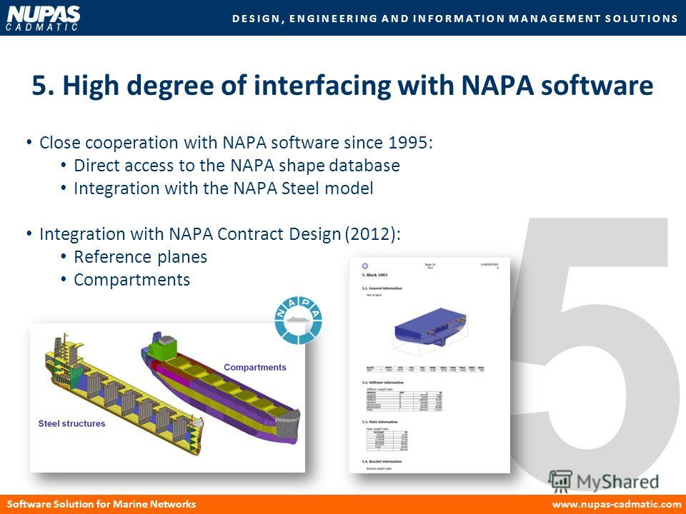 DESIGN, ENGINEERING AND INFORMATION MANAGEMENT SOLUTIONS Software Solution for Marine Networkswww.nupas-cadmatic.com 5 5. High degree of interfacing with NAPA software Close cooperation with NAPA software since 1995: Direct access to the NAPA shape d