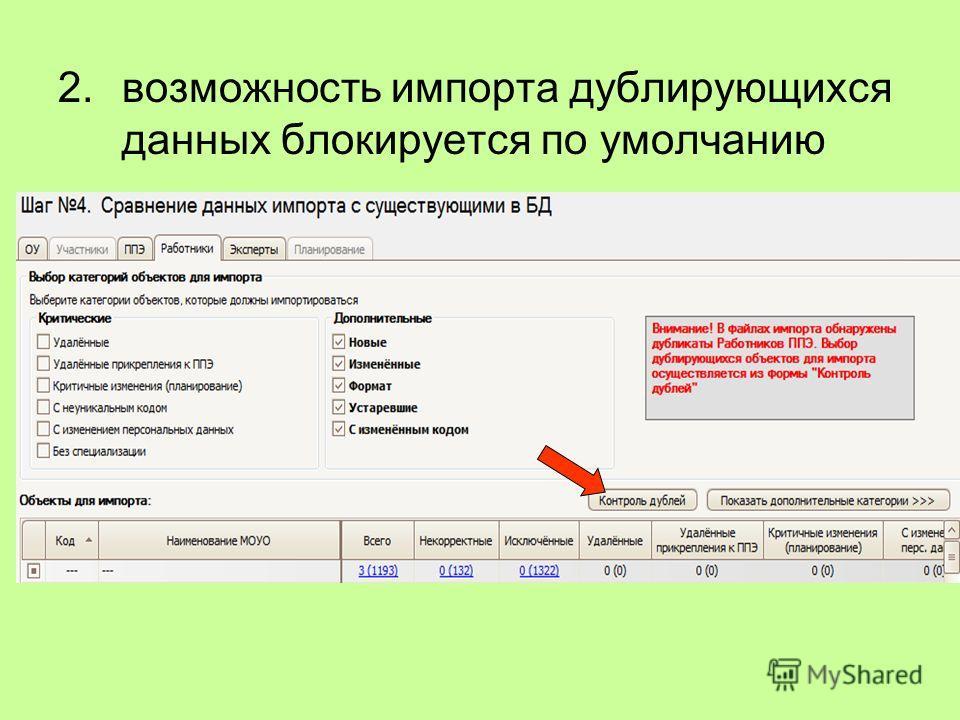 2.возможность импорта дублирующихся данных блокируется по умолчанию
