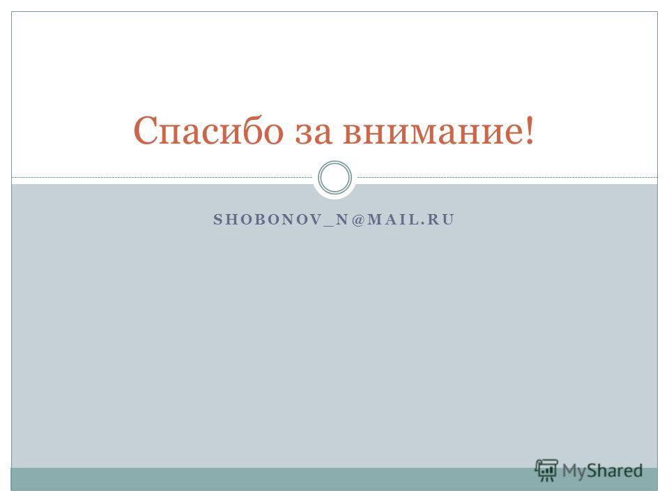 SHOBONOV_N@MAIL.RU Спасибо за внимание!