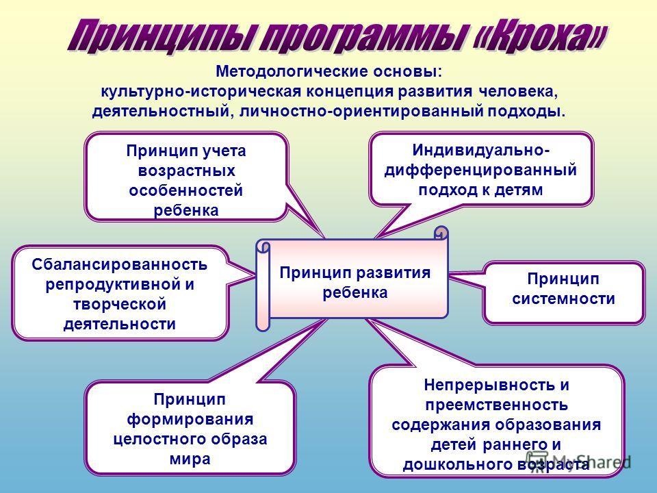 Принцип учета возрастных особенностей ребенка Индивидуально- дифференцированный подход к детям Принцип системности Сбалансированность репродуктивной и творческой деятельности Непрерывность и преемственность содержания образования детей раннего и дошк