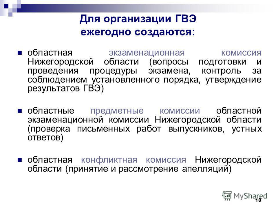 10 Для организации ГВЭ ежегодно создаются: областная экзаменационная комиссия Нижегородской области (вопросы подготовки и проведения процедуры экзамена, контроль за соблюдением установленного порядка, утверждение результатов ГВЭ) областные предметные