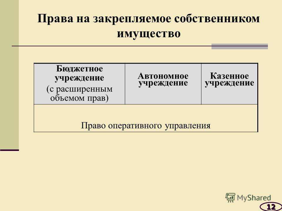 12 Бюджетное учреждение (с расширенным объемом прав) Автономное учреждение Казенное учреждение Право оперативного управления Права на закрепляемое собственником имущество