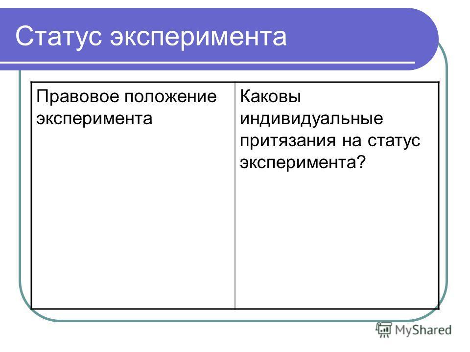 Статус эксперимента Правовое положение эксперимента Каковы индивидуальные притязания на статус эксперимента?