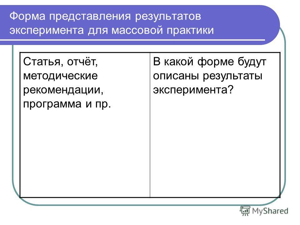 Форма представления результатов эксперимента для массовой практики Статья, отчёт, методические рекомендации, программа и пр. В какой форме будут описаны результаты эксперимента?