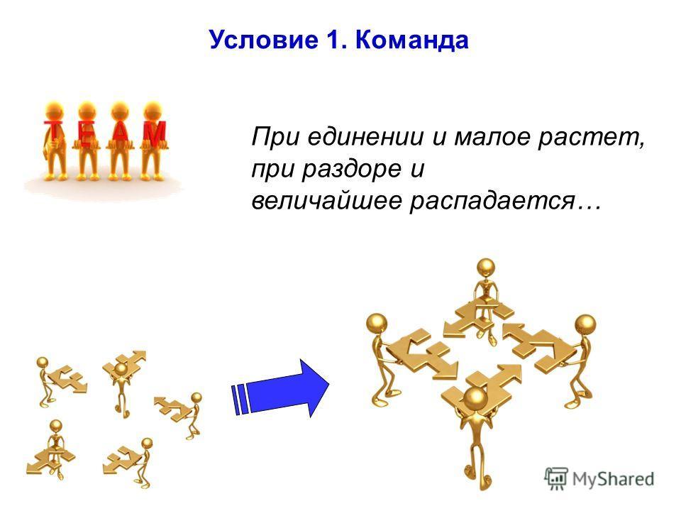 Условие 1. Команда При единении и малое растет, при раздоре и величайшее распадается…