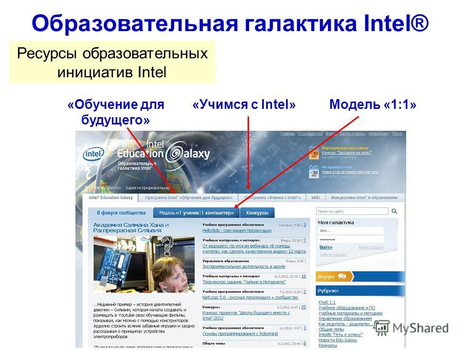 Образовательная галактика Intel® Ресурсы образовательных инициатив Intel «Обучение для будущего» «Учимся с Intel»Модель «1:1»