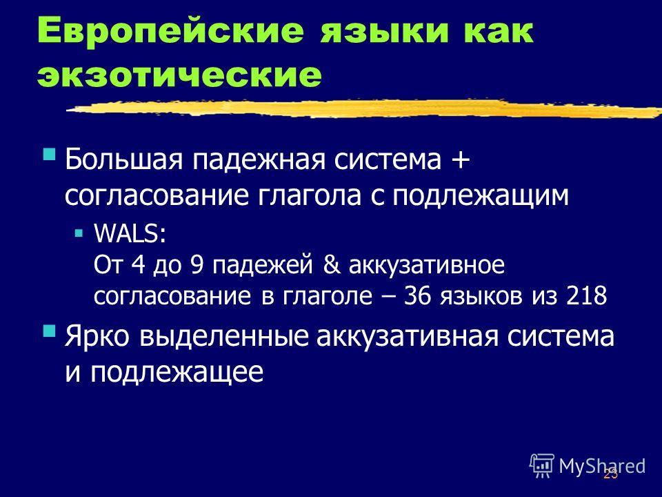 23 Европейские языки как экзотические Большая падежная система + согласование глагола с подлежащим WALS: От 4 до 9 падежей & аккузативное согласование в глаголе – 36 языков из 218 Ярко выделенные аккузативная система и подлежащее