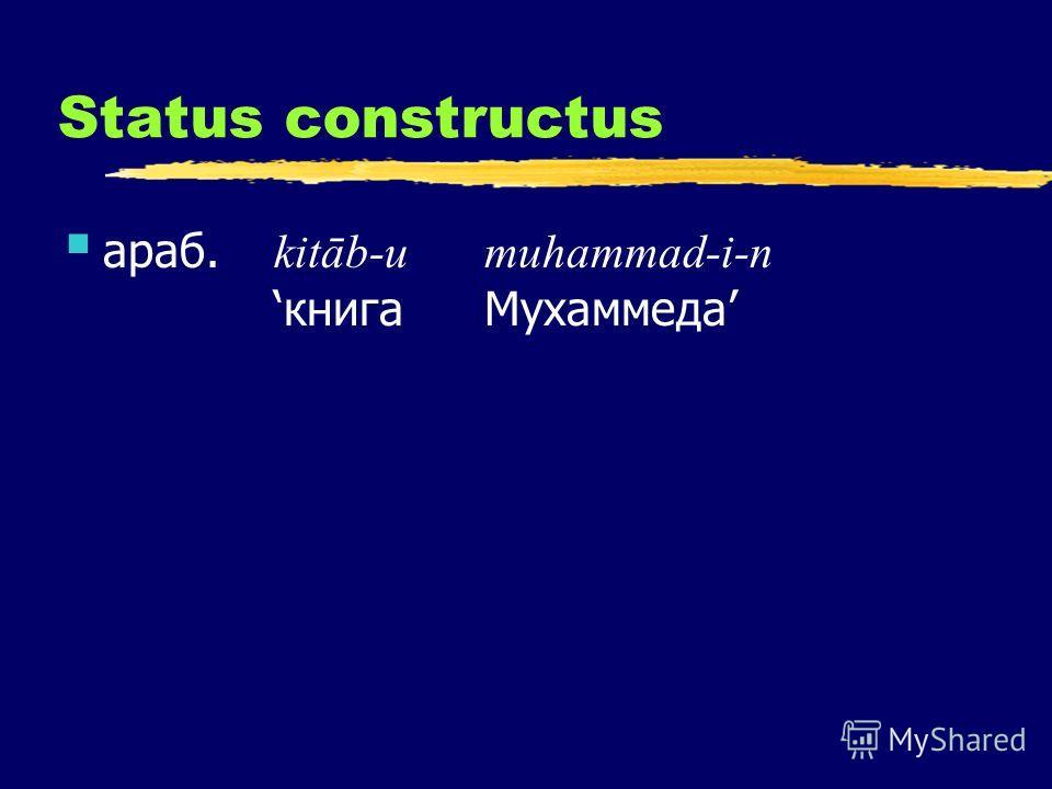 Status constructus араб. kitāb-u muhammad-i-nкнига Мухаммеда