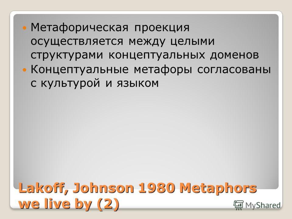 Lakoff, Johnson 1980 Metaphors we live by (2) Метафорическая проекция осуществляется между целыми структурами концептуальных доменов Концептуальные метафоры согласованы с культурой и языком