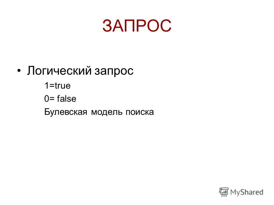 ЗАПРОС Логический запрос 1=true 0= false Булевская модель поиска