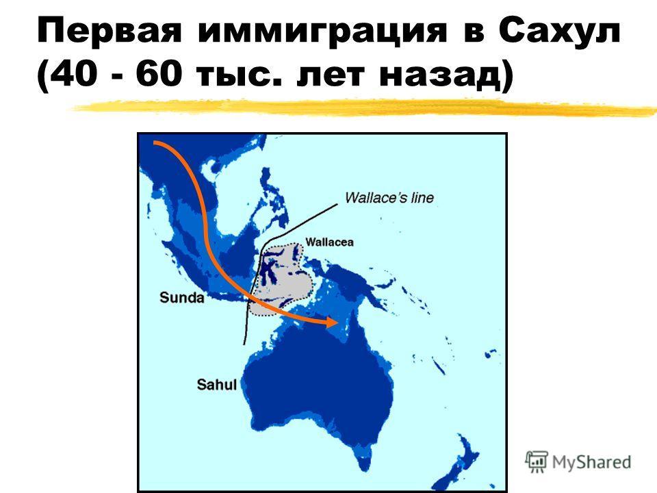 Первая иммиграция в Сахул (40 - 60 тыс. лет назад)