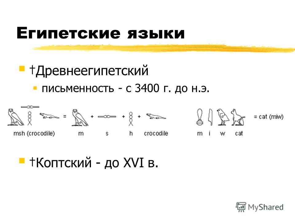 Египетские языки Древнеегипетский письменность - с 3400 г. до н.э. Коптский - до XVI в.