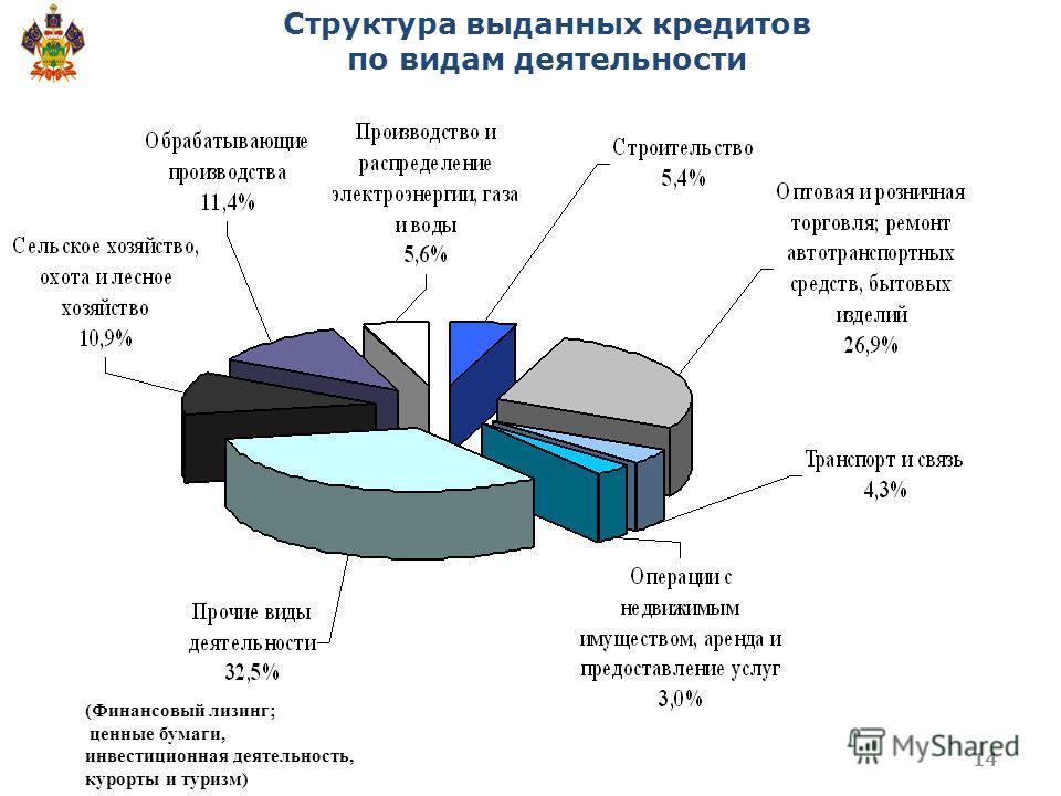 Структура выданных кредитов по видам деятельности (Финансовый лизинг; ценные бумаги, инвестиционная деятельность, курорты и туризм) 14