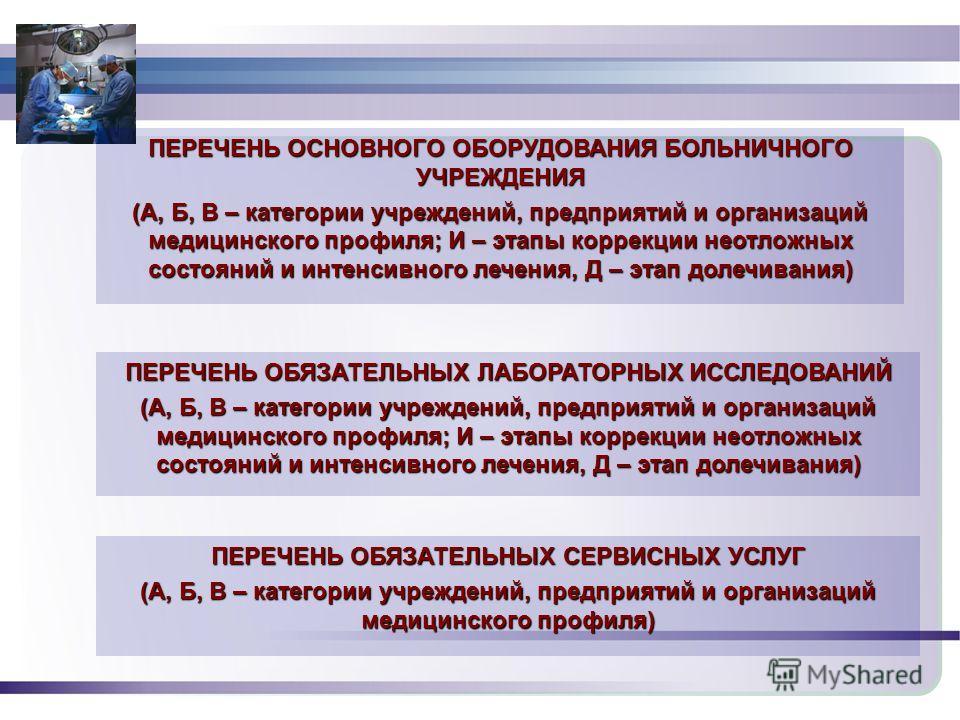 1930 ПЕРЕЧЕНЬ ОСНОВНОГО ОБОРУДОВАНИЯ БОЛЬНИЧНОГО УЧРЕЖДЕНИЯ (А, Б, В – категории учреждений, предприятий и организаций медицинского профиля; И – этапы коррекции неотложных состояний и интенсивного лечения, Д – этап долечивания) ПЕРЕЧЕНЬ ОБЯЗАТЕЛЬНЫХ