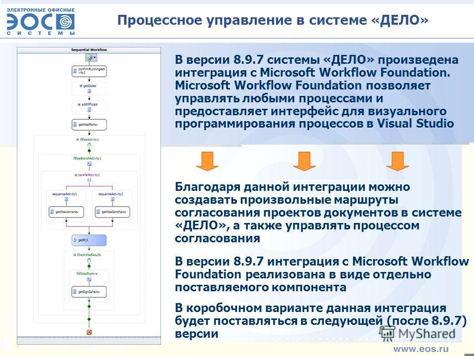 Процессное управление в системе «ДЕЛО» В версии 8.9.7 системы «ДЕЛО» произведена интеграция с Microsoft Workflow Foundation. Microsoft Workflow Foundation позволяет управлять любыми процессами и предоставляет интерфейс для визуального программировани