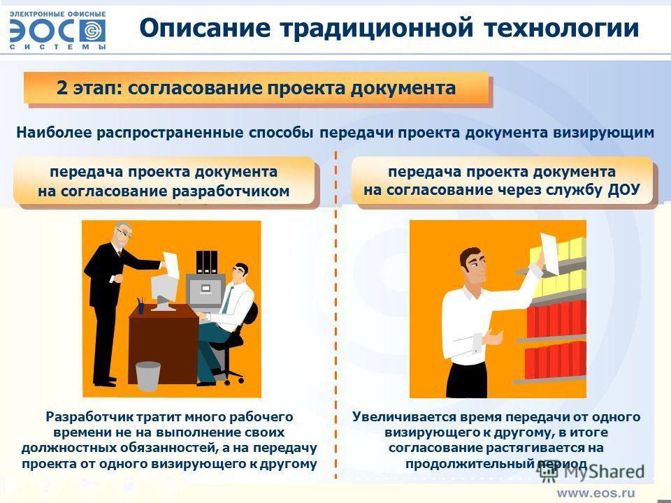 Описание традиционной технологии 2 этап: согласование проекта документа Наиболее распространенные способы передачи проекта документа визирующим передача проекта документа на согласование разработчиком передача проекта документа на согласование через