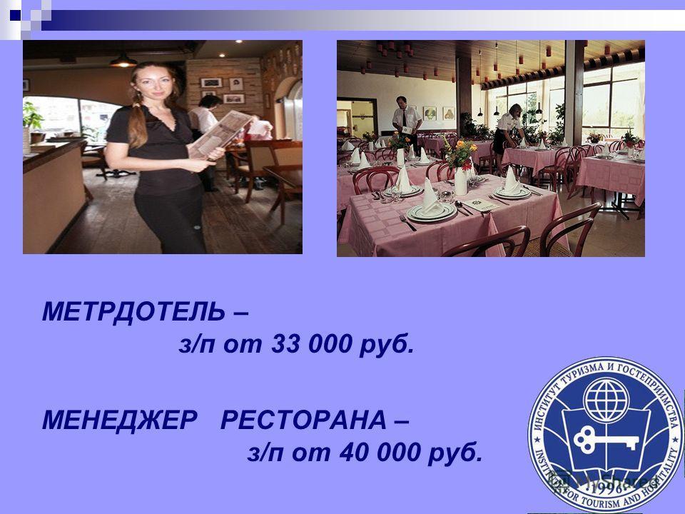 МЕТРДОТЕЛЬ – з/п от 33 000 руб. МЕНЕДЖЕР РЕСТОРАНА – з/п от 40 000 руб.