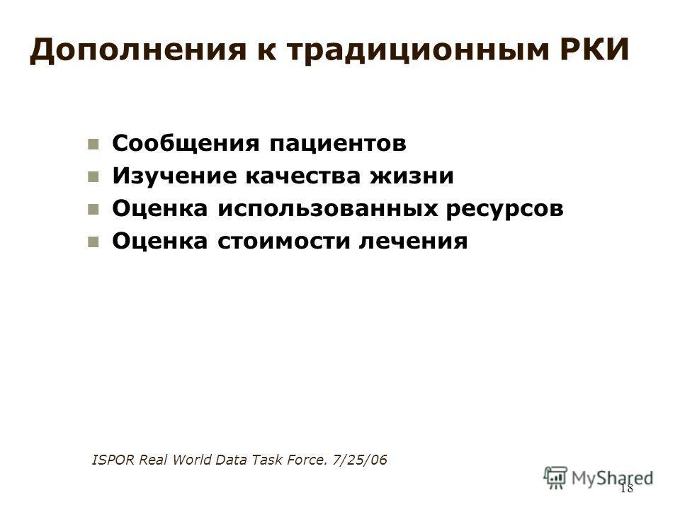 18 Дополнения к традиционным РКИ Сообщения пациентов Изучение качества жизни Оценка использованных ресурсов Оценка стоимости лечения ISPOR Real World Data Task Force. 7/25/06