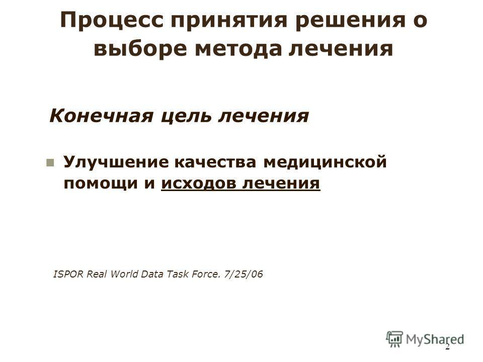 2 Конечная цель лечения Процесс принятия решения о выборе метода лечения Улучшение качества медицинской помощи и исходов лечения ISPOR Real World Data Task Force. 7/25/06