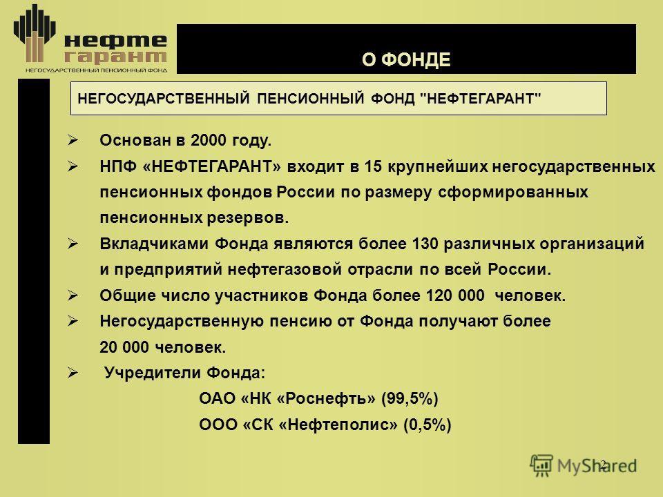2 О ФОНДЕ НЕГОСУДАРСТВЕННЫЙ ПЕНСИОННЫЙ ФОНД