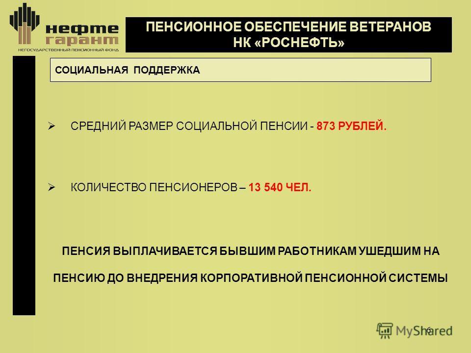 6 ПЕНСИОННОЕ ОБЕСПЕЧЕНИЕ ВЕТЕРАНОВ НК «РОСНЕФТЬ» СОЦИАЛЬНАЯ ПОДДЕРЖКА СРЕДНИЙ РАЗМЕР СОЦИАЛЬНОЙ ПЕНСИИ - 873 РУБЛЕЙ. КОЛИЧЕСТВО ПЕНСИОНЕРОВ – 13 540 ЧЕЛ. ПЕНСИЯ ВЫПЛАЧИВАЕТСЯ БЫВШИМ РАБОТНИКАМ УШЕДШИМ НА ПЕНСИЮ ДО ВНЕДРЕНИЯ КОРПОРАТИВНОЙ ПЕНСИОННОЙ С