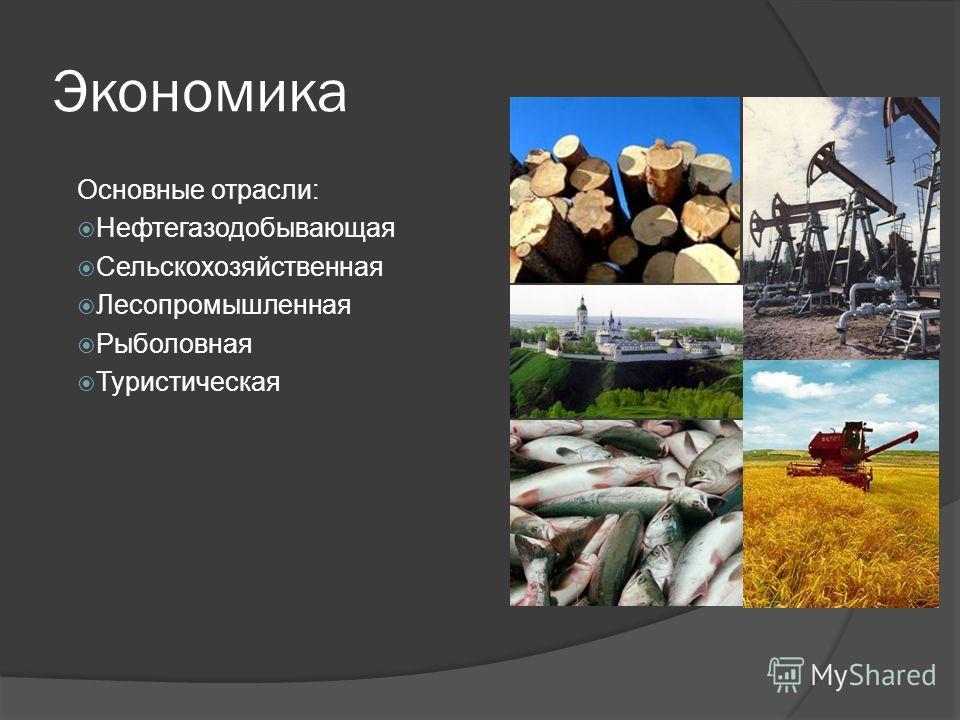 Экономика Основные отрасли: Нефтегазодобывающая Сельскохозяйственная Лесопромышленная Рыболовная Туристическая