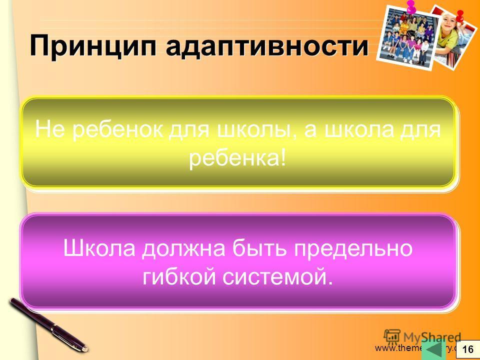 www.themegallery.com Принцип адаптивности Не ребенок для школы, а школа для ребенка! Школа должна быть предельно гибкой системой. 16