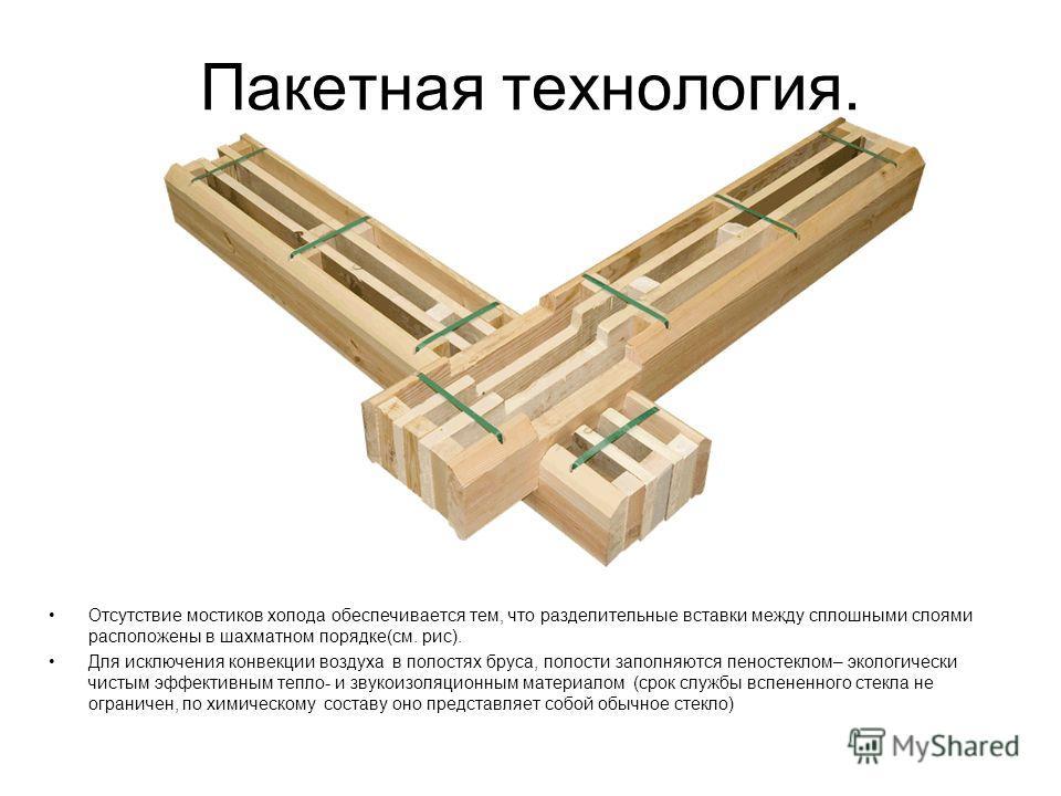 Пакетная технология. Отсутствие мостиков холода обеспечивается тем, что разделительные вставки между сплошными слоями расположены в шахматном порядке(см. рис). Для исключения конвекции воздуха в полостях бруса, полости заполняются пеностеклом– эколог