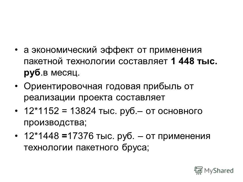 а экономический эффект от применения пакетной технологии составляет 1 448 тыс. руб.в месяц. Ориентировочная годовая прибыль от реализации проекта составляет 12*1152 = 13824 тыс. руб.– от основного производства; 12*1448 =17376 тыс. руб. – от применени