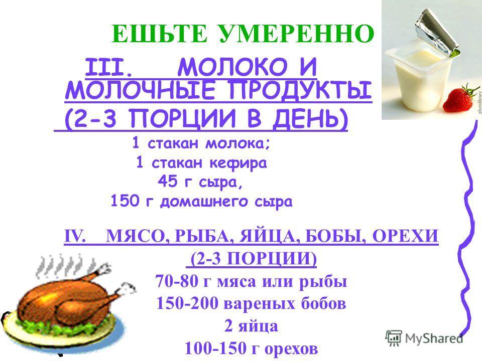 III. МОЛОКО И МОЛОЧНЫЕ ПРОДУКТЫ (2-3 ПОРЦИИ В ДЕНЬ) 1 стакан молока; 1 стакан кефира 45 г сыра, 150 г домашнего сыра ЕШЬТЕ УМЕРЕННО IV. МЯСО, РЫБА, ЯЙЦА, БОБЫ, ОРЕХИ (2-3 ПОРЦИИ) 70-80 г мяса или рыбы 150-200 вареных бобов 2 яйца 100-150 г орехов