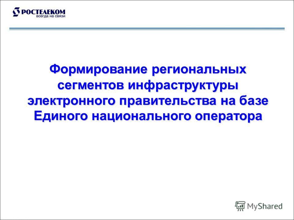 Формирование региональных сегментов инфраструктуры электронного правительства на базе Единого национального оператора