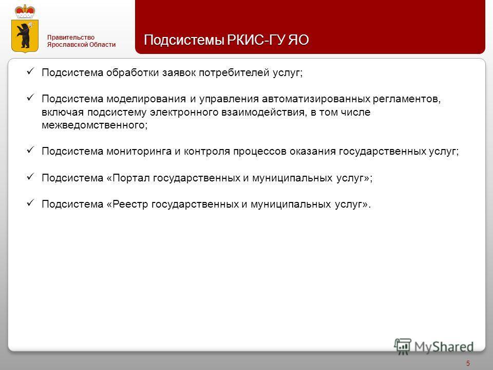 Правительство Ярославской Области Подсистемы РКИС - ГУ ЯО 5 Подсистема обработки заявок потребителей услуг; Подсистема моделирования и управления автоматизированных регламентов, включая подсистему электронного взаимодействия, в том числе межведомстве