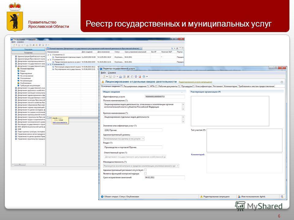 Правительство Ярославской Области Реестр государственных и муниципальных услуг 6
