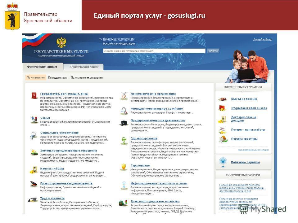 Правительство Ярославской области Единый портал услуг - gosuslugi.ru