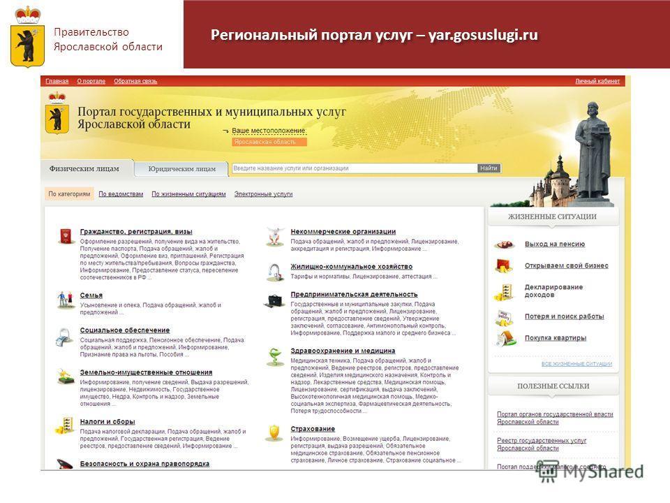 Правительство Ярославской области Региональный портал услуг – yar.gosuslugi.ru