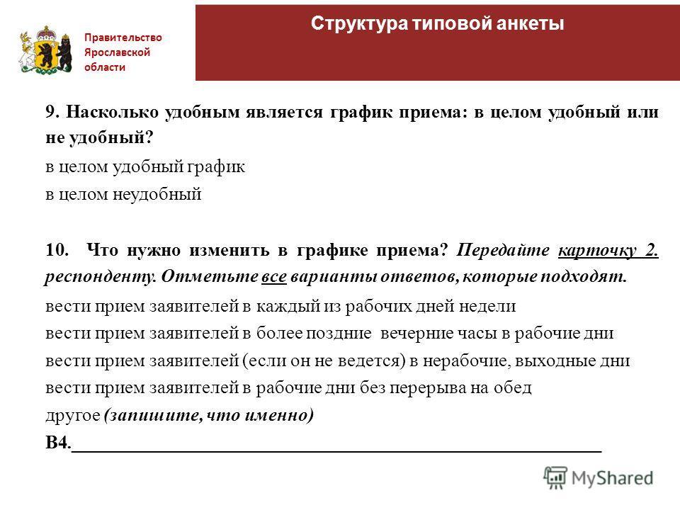 Правительство Ярославской области Структура типовой анкеты 9. Насколько удобным является график приема: в целом удобный или не удобный? в целом удобный график в целом неудобный 10. Что нужно изменить в графике приема? Передайте карточку 2. респондент