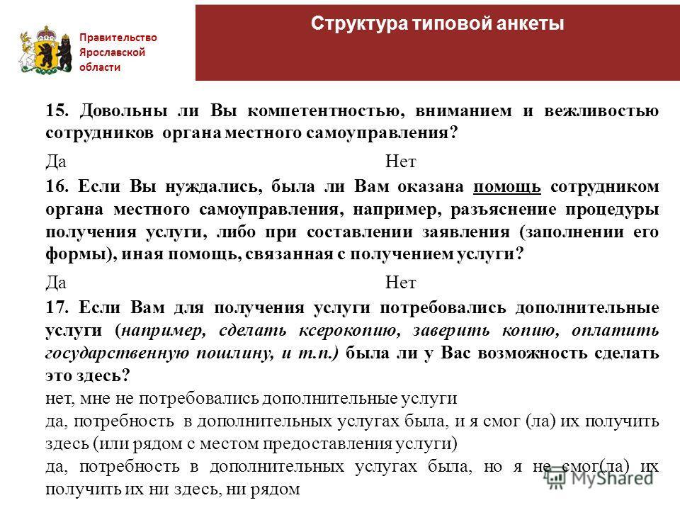 Правительство Ярославской области Структура типовой анкеты 15. Довольны ли Вы компетентностью, вниманием и вежливостью сотрудников органа местного самоуправления? ДаНет 16. Если Вы нуждались, была ли Вам оказана помощь сотрудником органа местного сам