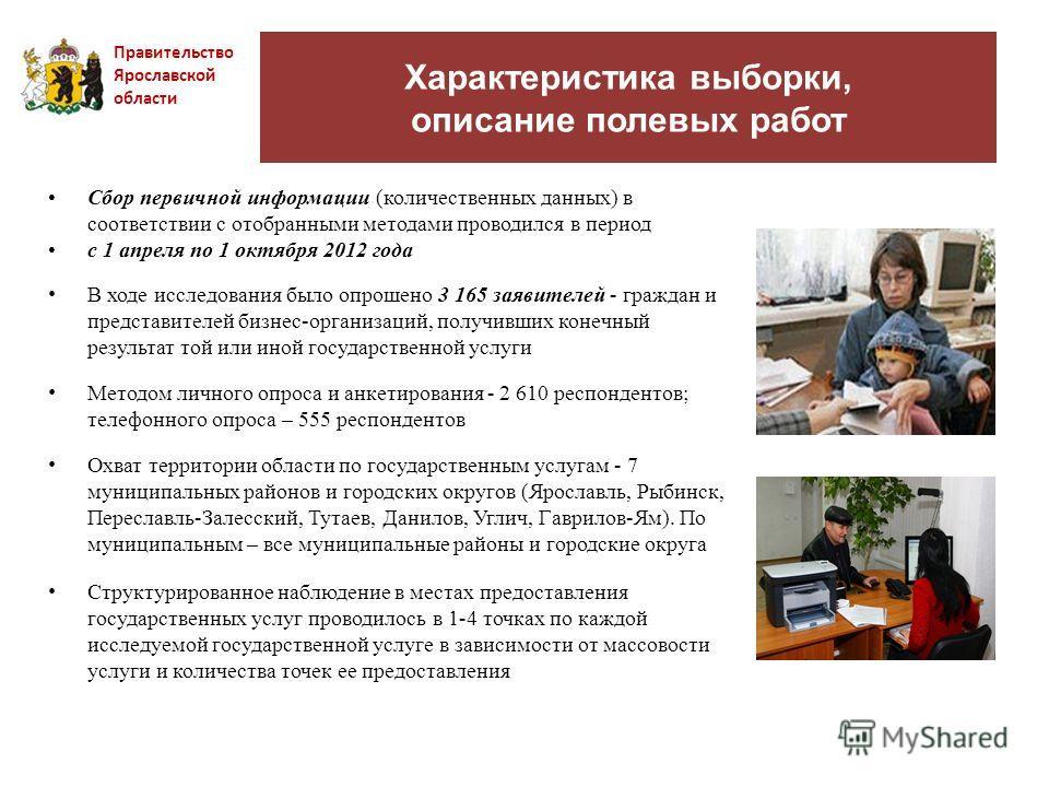 Характеристика выборки, описание полевых работ Правительство Ярославской области Сбор первичной информации (количественных данных) в соответствии с отобранными методами проводился в период с 1 апреля по 1 октября 2012 года В ходе исследования было оп