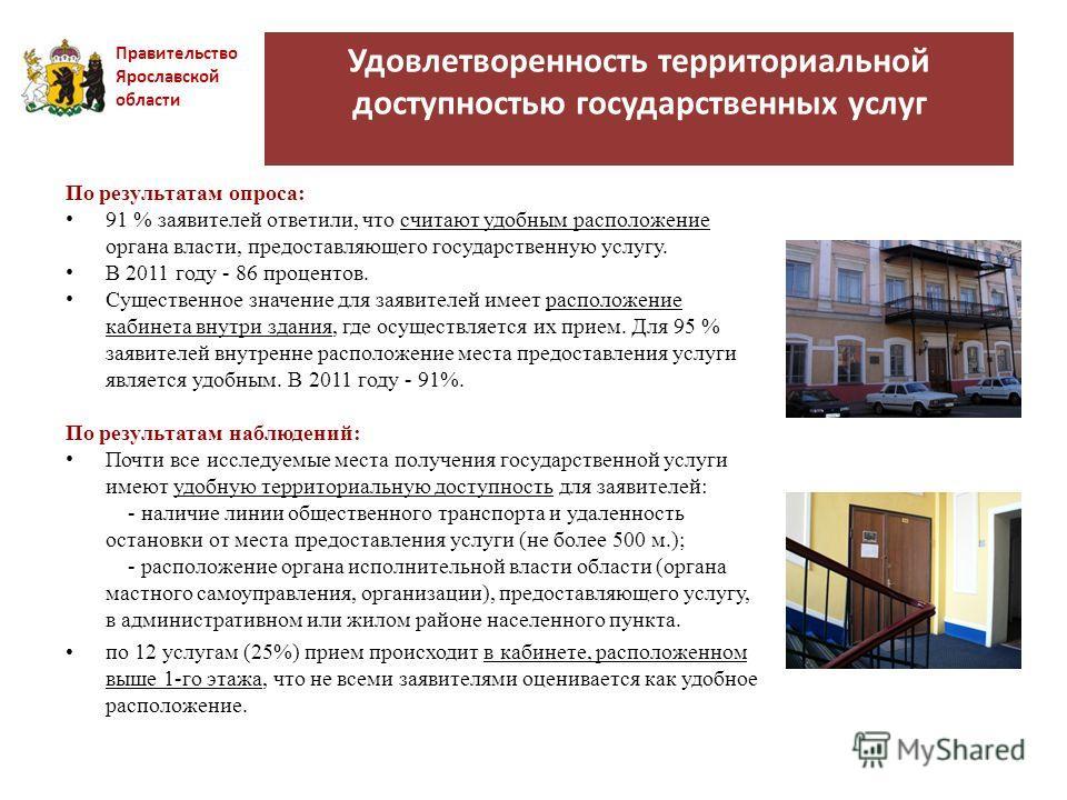 Удовлетворенность территориальной доступностью государственных услуг Правительство Ярославской области По результатам опроса: 91 % заявителей ответили, что считают удобным расположение органа власти, предоставляющего государственную услугу. В 2011 го