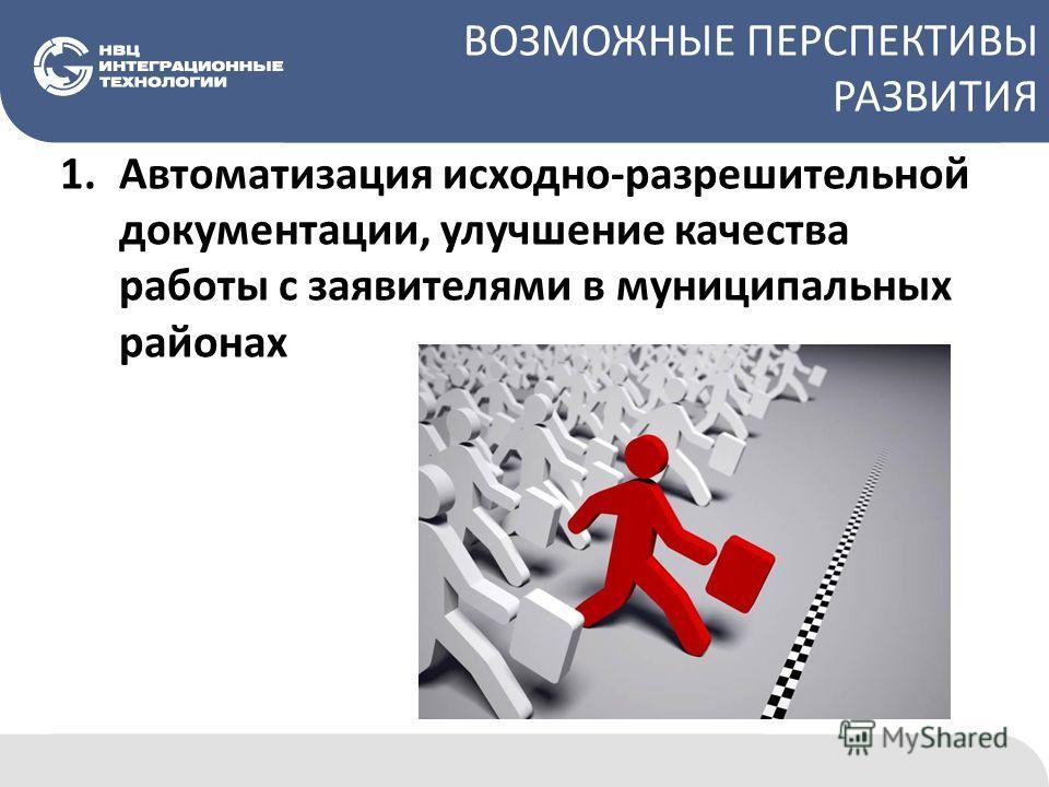 ВОЗМОЖНЫЕ ПЕРСПЕКТИВЫ РАЗВИТИЯ 1.Автоматизация исходно-разрешительной документации, улучшение качества работы с заявителями в муниципальных районах