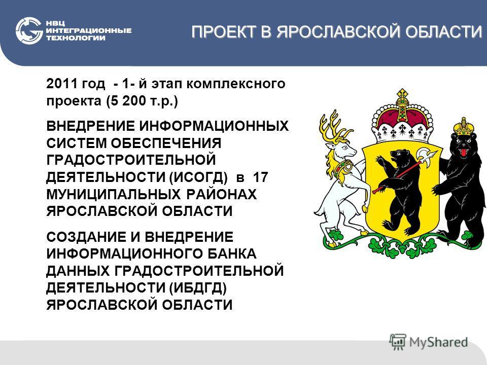 ПРОЕКТ В ЯРОСЛАВСКОЙ ОБЛАСТИ 2011 год - 1- й этап комплексного проекта (5 200 т.р.) ВНЕДРЕНИЕ ИНФОРМАЦИОННЫХ СИСТЕМ ОБЕСПЕЧЕНИЯ ГРАДОСТРОИТЕЛЬНОЙ ДЕЯТЕЛЬНОСТИ (ИСОГД) в 17 МУНИЦИПАЛЬНЫХ РАЙОНАХ ЯРОСЛАВСКОЙ ОБЛАСТИ СОЗДАНИЕ И ВНЕДРЕНИЕ ИНФОРМАЦИОННОГО