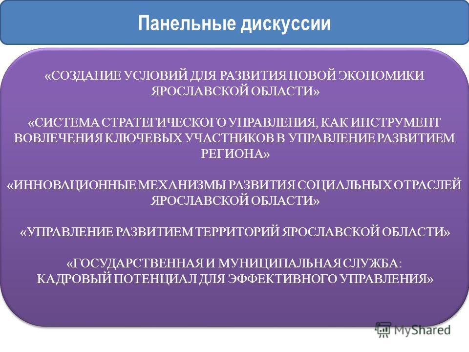 Панельные дискуссии «СОЗДАНИЕ УСЛОВИЙ ДЛЯ РАЗВИТИЯ НОВОЙ ЭКОНОМИКИ ЯРОСЛАВСКОЙ ОБЛАСТИ» «СИСТЕМА СТРАТЕГИЧЕСКОГО УПРАВЛЕНИЯ, КАК ИНСТРУМЕНТ ВОВЛЕЧЕНИЯ КЛЮЧЕВЫХ УЧАСТНИКОВ В УПРАВЛЕНИЕ РАЗВИТИЕМ РЕГИОНА» «ИННОВАЦИОННЫЕ МЕХАНИЗМЫ РАЗВИТИЯ СОЦИАЛЬНЫХ ОТ