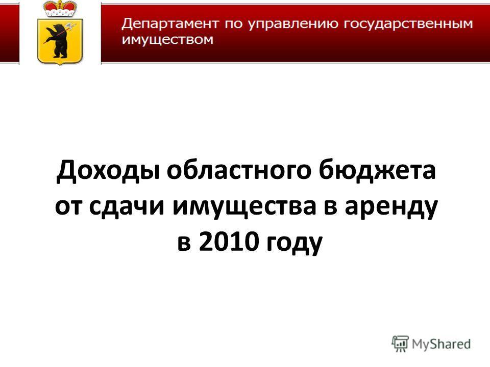 Доходы областного бюджета от сдачи имущества в аренду в 2010 году