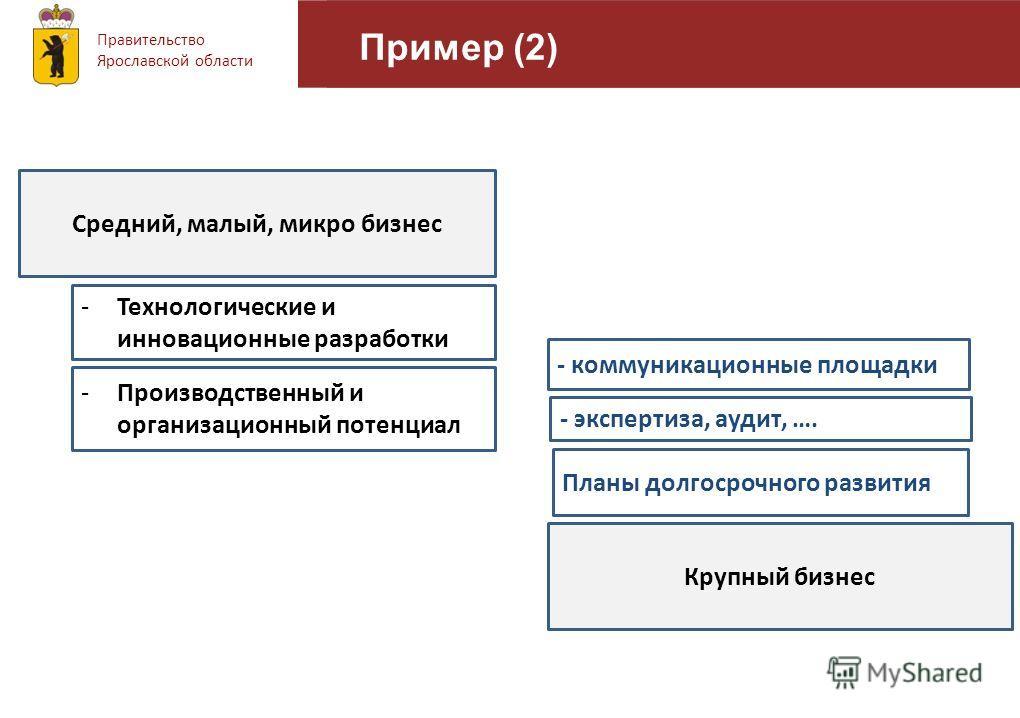 Правительство Ярославской области Пример (2) 11 Планы долгосрочного развития - коммуникационные площадки - экспертиза, аудит, …. -Производственный и организационный потенциал -Технологические и инновационные разработки Средний, малый, микро бизнес Кр