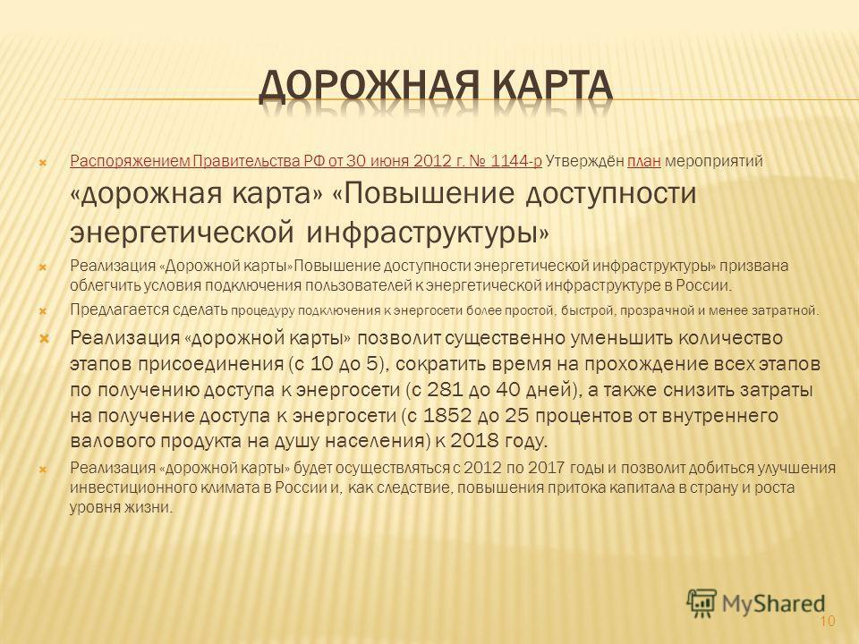 Распоряжением Правительства РФ от 30 июня 2012 г. 1144-р Утверждён план мероприятий «дорожная карта» «Повышение доступности энергетической инфраструктуры» Распоряжением Правительства РФ от 30 июня 2012 г. 1144-рплан Реализация «Дорожной карты»Повышен