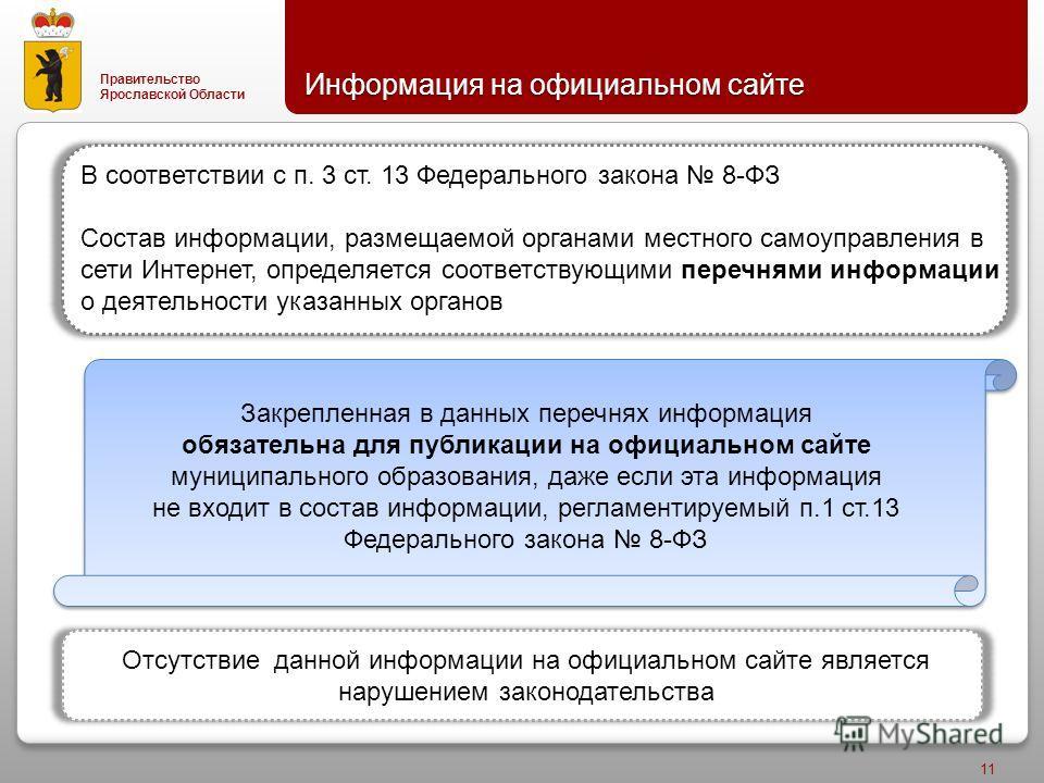 Правительство Ярославской Области Информация на официальном сайте 11 Закрепленная в данных перечнях информация обязательна для публикации на официальном сайте муниципального образования, даже если эта информация не входит в состав информации, регламе