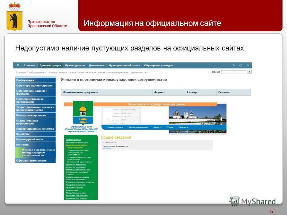 Правительство Ярославской Области Информация на официальном сайте 12 Недопустимо наличие пустующих разделов на официальных сайтах