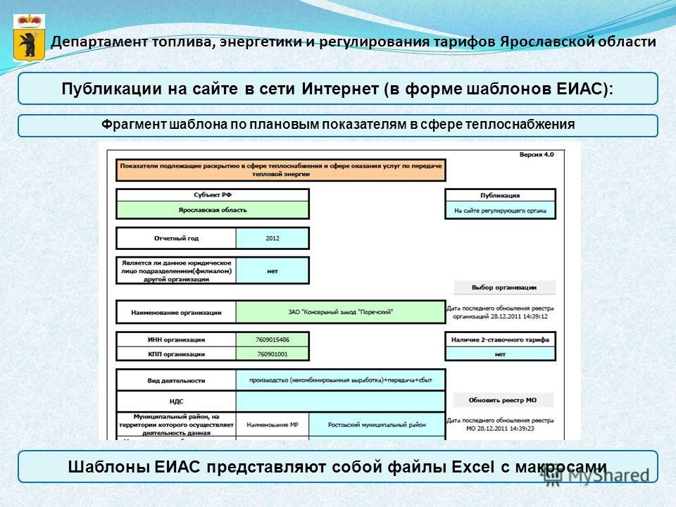 Публикации на сайте в сети Интернет (в форме шаблонов ЕИАС): Департамент топлива, энергетики и регулирования тарифов Ярославской области Фрагмент шаблона по плановым показателям в сфере теплоснабжения Шаблоны ЕИАС представляют собой файлы Excel с мак